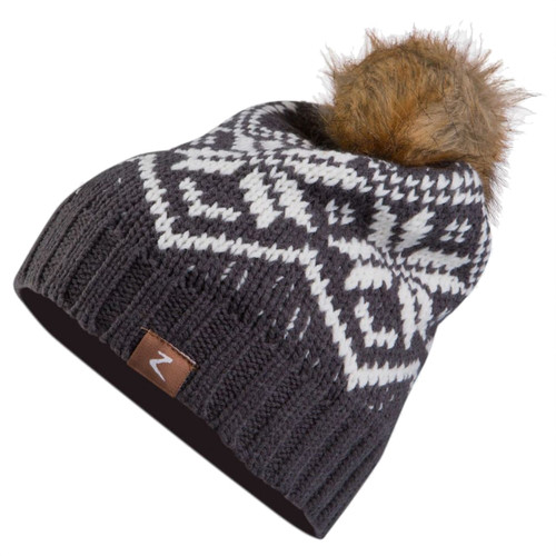 Horze Kid's Monika Snowflake Hat - Asphalt Dark Grey