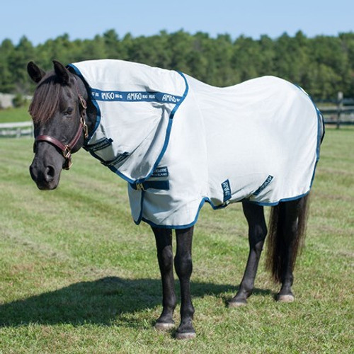 Amigo Pony Bug Rug - Fly Sheet - Silver/Navy