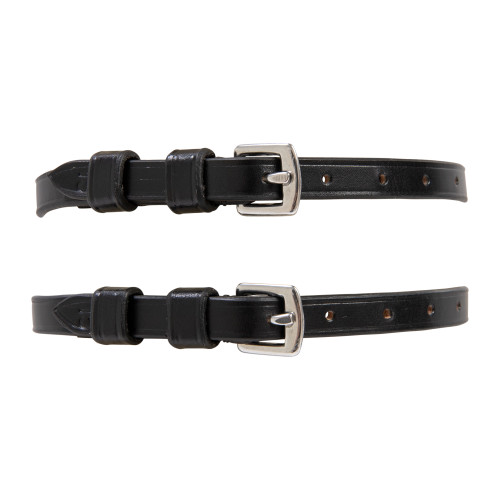 Huntley Black Leather Spur Straps - Buckled