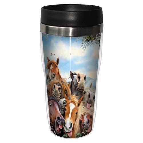 Horses Selfie Travel Tumbler