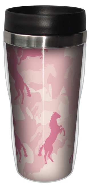 Horse Flage Pink Travel Tumbler