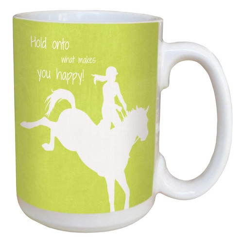 Ceramic Coffee Mug with Quote: Hold On to What Makes You Happy