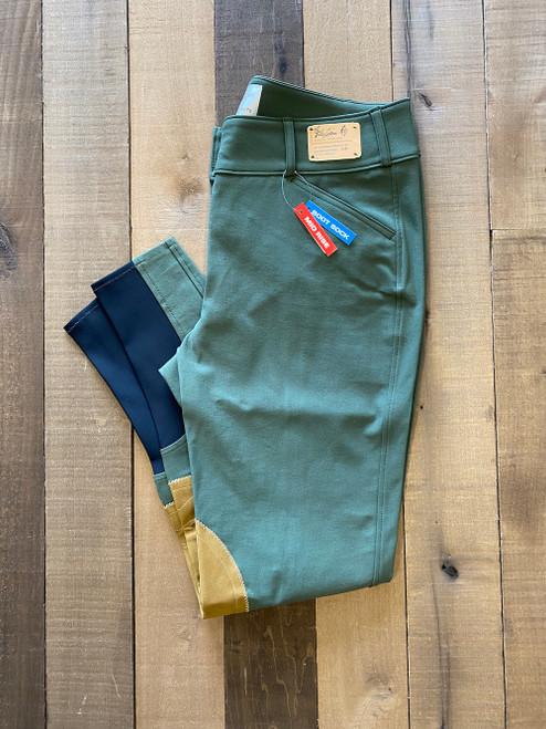 The Tailored Sportsman Boot Sock Mid Rise Front Zip Breech - Loden Green/Tan