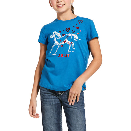 Ariat Youth Pony Love Short Sleeve T-Shirt - Blue Dawn