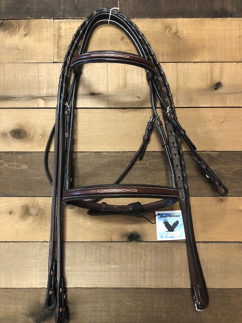 HK Americana Fancy Square Raised Padded Bridle with fancy laced reins