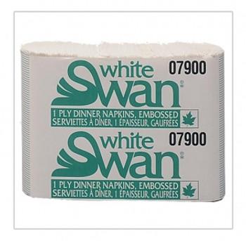 White Swan - 07900 - 1-Ply Dinner Napkin, 8 Fold, White, 3000/case