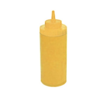 Winco - PSW-16Y - 16 Oz Wide Mouth Yellow Squeeze Bottle - 6/Pack