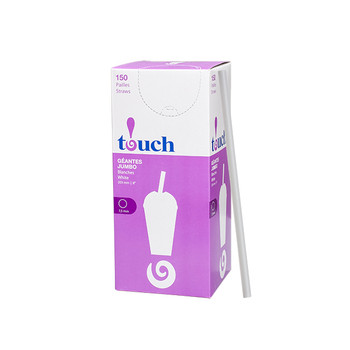 "Touch - 92-0879 - 8"" Super Jumbo Straws White - 9x150"