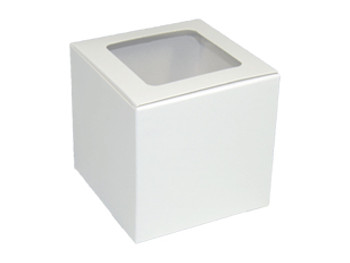 "EB - 4"" x 4"" x 4"" - White Cupcake Box with Window - 100/Pack"