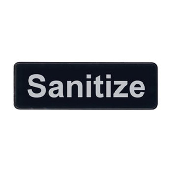 "Winco SGN-329 Sanitize Sign - Black and White, 9"" x 3"""