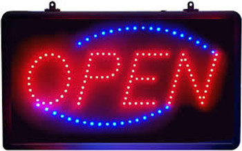 Open LED Sign with On/Off Switch
