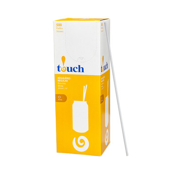 "Touch - 92-0369 - 10"" Drinking Straw White - 9x500"
