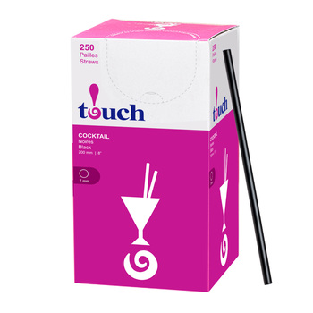 """Touch - 92-875 - 8"""" Jumbo Cocktail Straw Black - 9x250"""