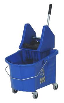Continental - 335-37BL  - 35 Qt. Splash Guard™ Blue Downpress Mop Buckets + Wringer Combo - 1 Combo/Pack