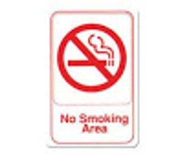 "Winco - SGN-684W - 6""X9"" No Smoking Area Sign - White"