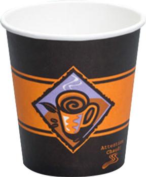 Genpak - 10HDS - 10 Oz Squat Hot Paper Cup, Printed Gourmet Cafe, 1000/Case