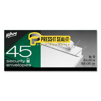 "Hilroy - Press-It Seal-It Self Adhesive Envelope - Business - #10 (4.13"" x 9.50"") - 20 lb - 45/Box"