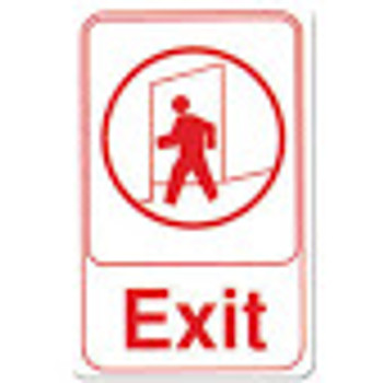 "Winco - SGN-681W - 6""X9"" Exit Sign - White - 1 Unit/Each"