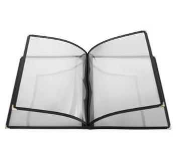 "Winco - PMCF-9K - Menu Cover, 4 Page, 9-5/8"" x 12-1/8"", Black, Each"