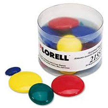 Lorell - Tub of Assorted Magnet - Small, Medium, Large - 30 / Pack - Assorted