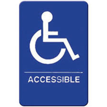 "Winco - SGN-653B - 6""X9"" Accessible Sign - Blue"