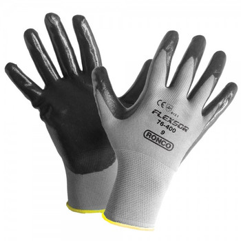 Ronco - 76-400-09 - Large Flexsor™ 76-400 Nitrile Palm Coated Nylon Gloves - 12 Pair/Pack
