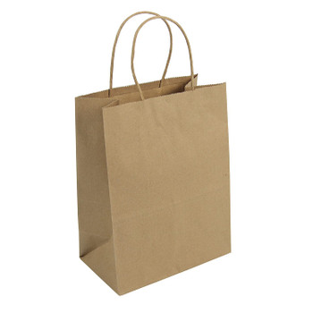 "Durobag - #87097 Tempo - 8""x 10-1/4"" x 4-1/2"" - Kraft Paper Shopping / Grocery Bags"