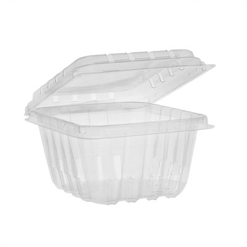 Pactiv 1 pint Plastic Clamshell Vented Container 516/Case