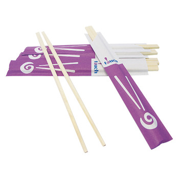 "Touch - 80-852 - Wooden Chopsticks 8"" Partially Paper Wrapped"