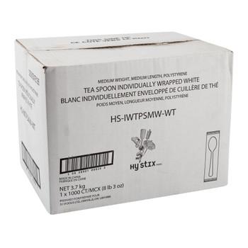 Hystix Teaspoon Polypropylene White Individually Wrapped, Case 1000