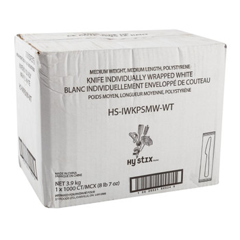 Hystix Knives Polypropylene White Individually Wrapped, Case 1000