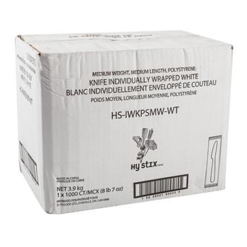 Hystix Knives Polypropylene White Individually Wrapped, Case 1000