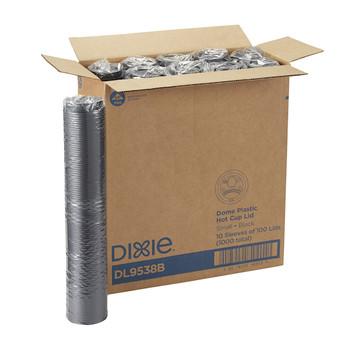 DL9538B - Black Dome Lid fits 8 oz Dixie Cups (#5338) - 1000/case