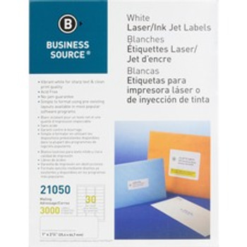 """BSN 26115 - Permanent Adhesive - 1 1/3"""" Width x 4"""" Length - Rectangle - Laser, Inkjet - White - 14 / Sheet - 250 Total Sheets - 3500 / Pack"""