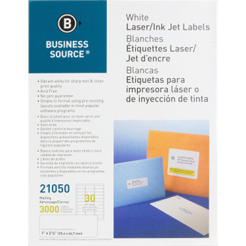 """Business Source 21050 - 1"""" x 2 5/8"""" White Laser Mailing Labels - 3000 Labels /Pack"""