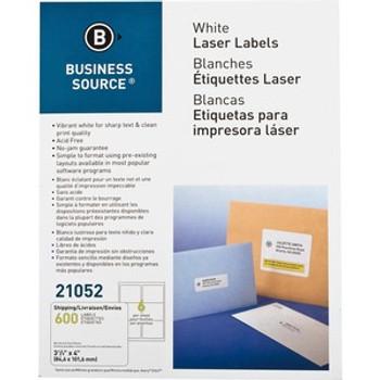 Business Source 21052 - 3 1/3 x 4 Laser/Ink Jet Labels - 600 /Pack