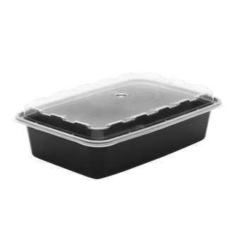 """Cube - CR-928B-V 28 oz Microwavable Container & Clear Vented Lid Combo, 8.30x5.80x1.62"""""""