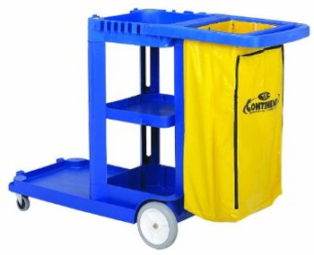 Continental - 184BL - Blue Janitor Cart With 25 Gallon Vinyl Bag - 1/Case