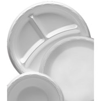 "Darnel - DU5010103 - 10.25"" 3-Compartment Foam Plate, White, 500/case"