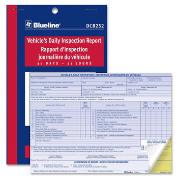 "Blueline - Vehicle's Daily Inspection Report - 31 Sheet(s) - 2 Part - 5.37"" x 8"" Sheet Size - 1 Each"