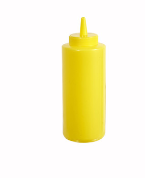 Winco - PSB-12Y - 12 Oz Yellow Squeeze Bottles Plastic - 6/Pack