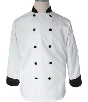 CI12139 Medium - Bodyguard White with Black Trim Chef Coat Medium Size - Each