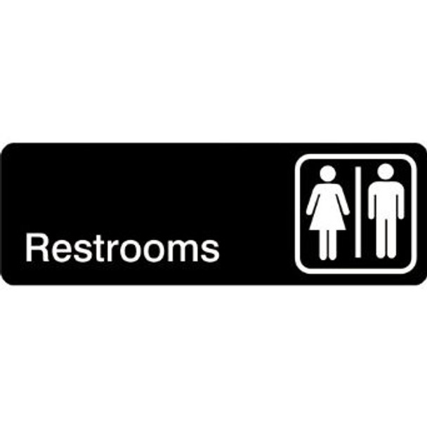 "Winco - SGN-313 - 3""X 9"" Restrooms Sign"