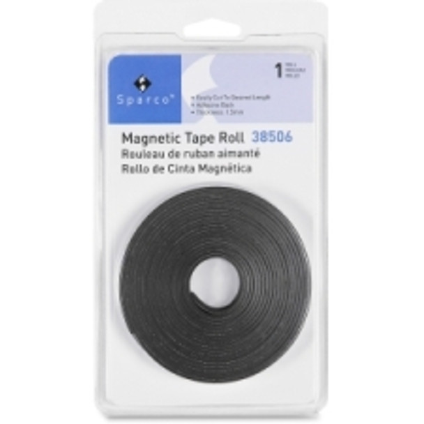 """Sparco - 38506 Magnetic Tape Roll - 0.50"""" (12.7 mm) Width x 10 ft (3 m) Length - Flexible, Magnetic - 1 Each - Black"""