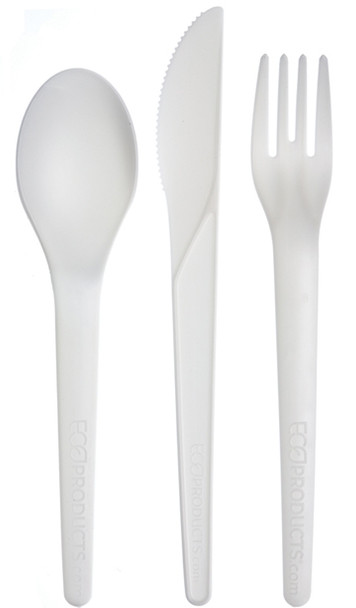 "Compostable Cutlery Kit- 6""(knife, fork, spoon and napkin) 250 sets/case"