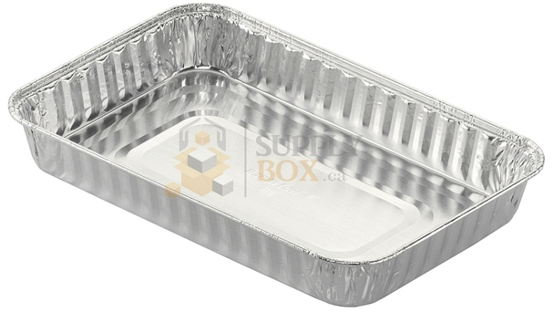 "HFA - 310-25-200 11"" x 7"" Shallow Oblong Aluminum Danish/Cake Pan 3/4"" Deep 200/Case"