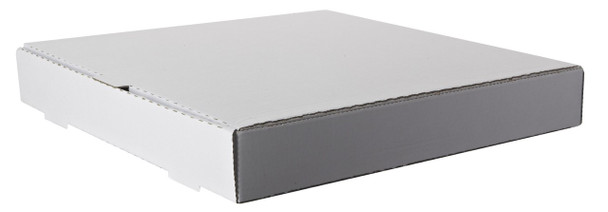 "Amber - 18"" x 18"" Plain White Pizza Box - 50/bundle, 14 bundles/skid = 700 boxes/skid"