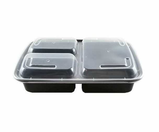 333B-33oz Rectangular Microwaveable Container with Lid 3-compartment, 150 sets