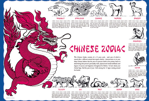 Sanfacon 12038 Chinese Zodiac Placemats 1000 Pack