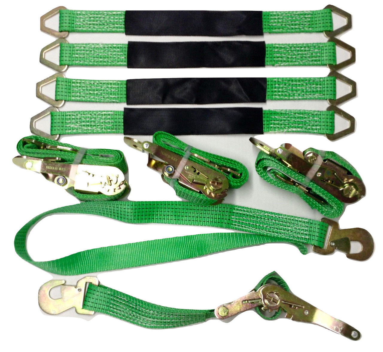 4 Axle Strap Tie Downs 24 Long and 4 Ratchet Tow Straps Car Haulers